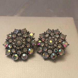 Vintage Aurora Borealis round clip earrings